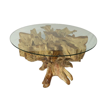 Teak root root furniture makasi imports for Tree root dining table
